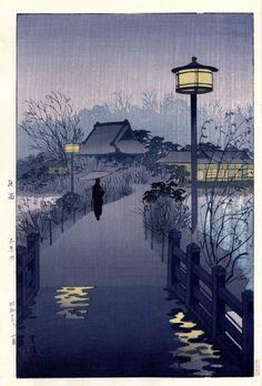 "Japanese Art Print ""Evening Rain at Shinobazu pond, Tokyo"" by Kasamatsu Shiro, woodblock print reproduction, asian art, cultural art Japanese Woodcut, Art Asiatique, Rainy Night, Night Rain, Rainy Days, Art Japonais, Japanese Painting, Japanese Artwork, Japan Art"