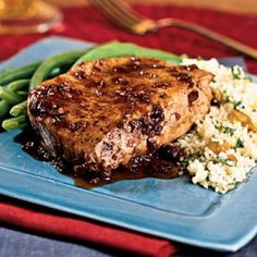 Balsamic-Plum Glazed Pork Chops Port wine, plum preserves, and balsamic vinegar combine for a sweet and savory glaze. Couscous and green beans complete the meal.