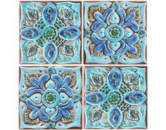 2 ceramic tiles for bathroom wall art - Suzani designs 1&2 15cm made from ceramic. *[This listing has a 10% discount for ordering 2 tiles].  This Suzani wall decor is carved in deep relief using the highest quality earthenware. Our ceramic tiles are hand painted making each one truly unique.  Our Suzani tiles look great as bathroom wall decor as individual statement pieces of art or alternatively can be grouped together to make larger installations for interior or exterior walls. Our wall...