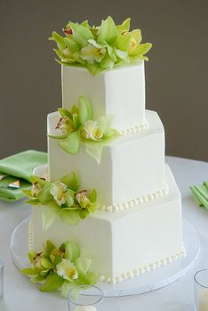 Wedding, Cake, Green, White, Orchids, Square, Freestyle weddings