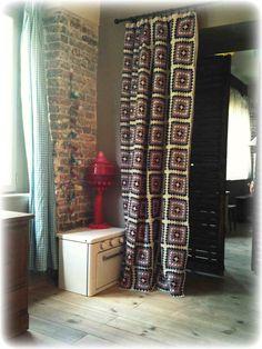 Crochet inspiration ~ Granny Square curtain.
