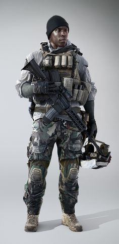 Dice has released a batch of new concept arts and characters renders for Battlefield EA has recently announce that the game will be playable at Gamescom this year with 5 other games from EA. Battlefield 4 planned for Nov 1 release on Xbox One and PC. Character Concept, Concept Art, Character Design, Game Character, Military Gear, Military Weapons, Military Action Figures, Battlefield 4, Future Soldier