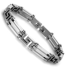 Urban Jewelry Elegant Silver Tone Link 316L Stainless Steel Bracelet for Men. ✔ AN EYE-CATCHING BRACELET Mix of bar and Greek key links makes this bracelet stand out in a crowd. ✔ STRIKING SHINE Highly polished finish reflects the light to attract attention. ✔ NO NEED TO POLISH The bracelet won't tarnish due to the natural properties of stainless steel. ✔ MADE TO FIT MEN PERFECTLY Bracelet measures 8.27 inches (21 cm) in length by 0.31 inch (0.8 cm) in width. ✔ READY FOR WRAPPING This…