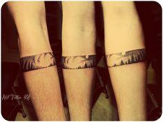 Dotwork forest tattoo