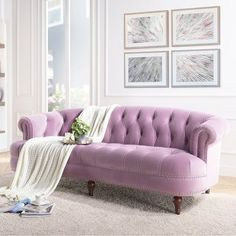 Bring soothing style to your indoor space with the help of this Unique Jennifer Taylor La Rosa Lavender Sofa. Formal Living Rooms, Living Room Sofa, Living Room Furniture, Living Room Decor, Pastel Living Room, Living Spaces, Purple Couch, Living Vintage, Vintage Sofa
