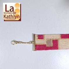 Bracelet tissé FANNY rouge et or