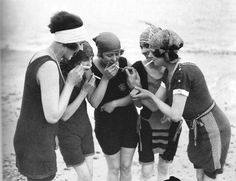 Naughty flappers, c. 1919-22.  [::SemAp::] I want one of those bathing suits !