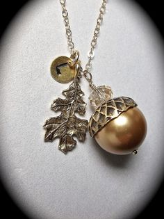Acorn Necklace - Personalized - Hand stamped - initial - Oak Leaf - Gold filled - gift - Fall jewelry - on Etsy, $38.99