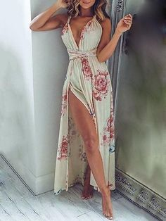 50 Popular And Trending Summer Outfits Of Showpo Label - Floral Maxi Dress Source Pretty Dresses, Sexy Dresses, Beautiful Dresses, Beautiful Toes, Sexy Summer Dresses, Ivory Dresses, Floral Dresses, Vestido Maxi Floral, Summer Outfits