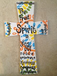 Bible verse painted Christian cross fruit of spirit.