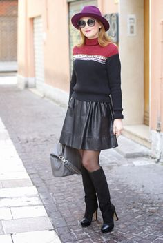 www.streetstylecity.blogspot.com Fashion inspired by the people in the street ootd look outfit sexy heels legs woman girl otk boots knee high leather skirt miniskirt pantyhose