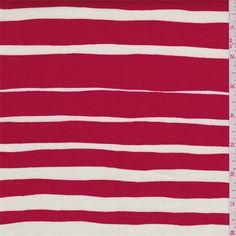 Ivory/Red Stripe Stretch Sateen - 41388X | Fashion Fabrics