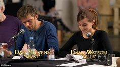 Flirtatious: Emma Watson and Dan Stevens traded words during a table reading with cast and crew as seen in a sneak peek for Disney's live action