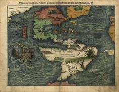 1550 Map of South America labeled in German, geographic features otherwise in Latin. Relief shown pictorially.