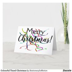 Colourful Tinsel Christmas Holiday Card #Christmas #Jesus Christ #holiday greetings Holiday Greeting Cards, Christmas Greetings, Christmas Cards, Hannukah, Christen, Peace And Love, Christmas Holidays, Merry, Place Card Holders