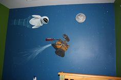 Wall-E bedroom mural