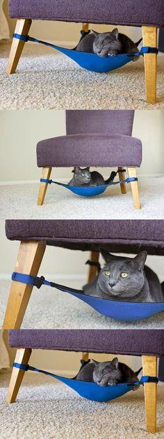 diy, hammock for cat, cat bed, tutorial - from DIY by diyjoy. I Love Cats, Crazy Cats, Diy Hammock, Hammocks, Animal Projects, Diy Projects, Gatos Cats, Cat Room, Cat Furniture
