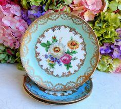 3 Beautiful German Porcelain Plates ~ Floral Bouquet ~ Gold Gilt #MadeInGermany
