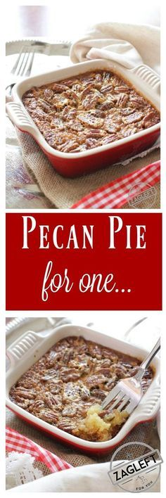 This Pecan Pie For One has all the flavors you love in a pecan pie. It's made with a buttery shortbread crust and a rich, pecan filled filling. This single serving dessert is perfectly sweet, it's filled with pecans and best of all, it's easy to make. | ZagLeft Easy Pie Recipes, Mug Recipes, Pecan Recipes, Baking Recipes, Dessert Recipes, Paleo Dessert, Baking Pies, Dinner Recipes, Jello Recipes