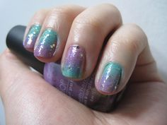 Pastel purple and blue ombre nail art with gold glitter ^_^