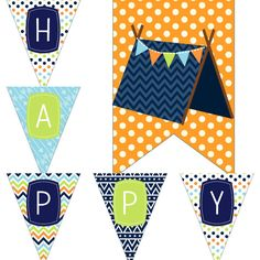 Boys Camping Birthday Party Decorations Package Digital Printables