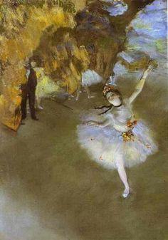 [Alcune opere con le ballerine mostrano nitidamente l'attenzione spostata, la presenza di figure 'esterne', scure e irriconoscibili a raccontare del mondo 'dietro le quinte' che Degas aveva imparato a conoscere, in un momento storico in cui le ballerine erano spesso considerate allo streguo delle prostitute. Bg] Degas