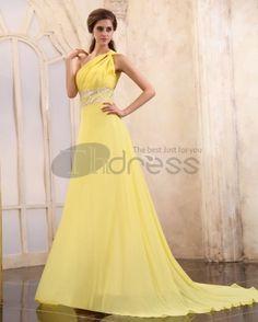 Long Evening Dresses-Chiffon Beading Pleated Chapel Train One Shoulder Evening Dresses