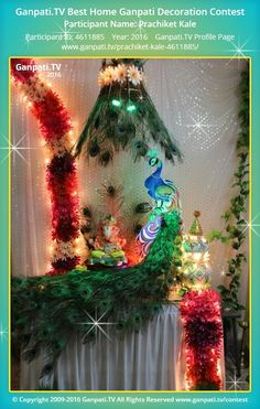 Prachiket Kale Home Ganpati Picture View more pictures and videos of Ganpati Decoration at www. Eco Friendly Ganpati Decoration, Ganpati Decoration Design, Moon Decor, Wall Decor, Ganesh Chaturthi Decoration, Ganpati Picture, Janmashtami Decoration, Diy Photo Booth Backdrop, Ganapati Decoration