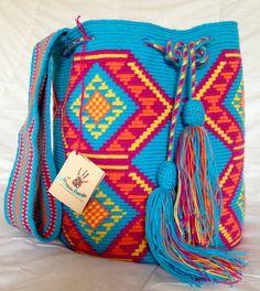 Wayuu tribe mochila bags (handmade) EPIEYÚ: blue and orange