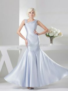 Trumpet/Mermaid Straps Elastic Woven Satin Floor-length Rhinestone Prom Dress