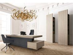 JERA 06 Designer Manager Büro, Schreibtisch mit Ledersichtschutz, Schrank, Regal in Ulme-grau mit indirekter Beleuchtung