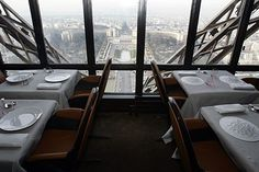 Dinner? A view of the revamped Jules Verne restaurant, with the Trocadero plaza seen in background, on the second level of the 1,024-foot Eiffel Tower. Famous French chef Alain Ducasse will take over the kitchen of the restaurant overlooking Paris.