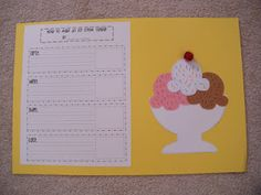 How to make an ice cream sunday...writing prompt & craft.