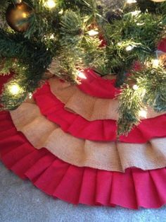 Red Burlap Ruffle Christmas Tree Skirt