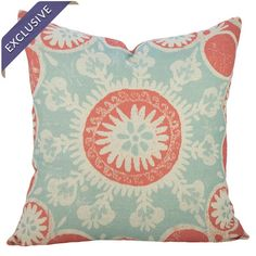 Cotton denim pillow with a suzani medallion motif. Handmade in the USA.  Product: PillowConstruction Material: C...