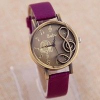 New Wristwatch 2015 Fashion Style Musical Note Carving Casual Watch Women Ladies Watch relojes relog