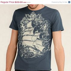 ON SALE Pirate Ship Tshirt Tall Ship Sailing by banyantreeclothing, $17.60