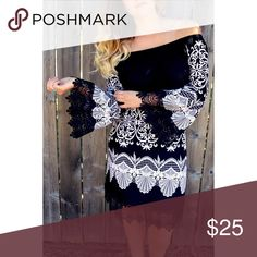 Black Lace Dress This fun off the shoulder dress is a winner! Wore it once to a Christmas party, and everyone LOVED it! It's a loose fit dress, with wide arm sleeves. Perfect for any occasion. White Mark Dresses Midi