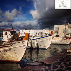 Cloudy Naousa, Paros. #greece #naousa #paros #cloudy #traditional #boats #dreamsinstyle