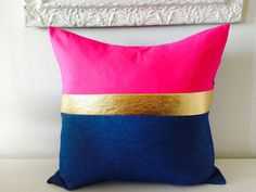 """Decorative Throw Pillow Cover- 18""""x18"""" Color-blocked Light Blue Denim Hot Pink Rayon and Gold Textured Faux Leather on Etsy. A She's Happy Design original design."""
