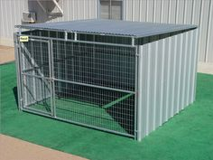 dog fence for garage door VEBO Outdoor Steel Chew-Proof Canine kennel / Condo (Large). Has your canine chewed up his last canine kennel? Having owned many kennels ourselves, 10x10 Dog Kennel, Dog Kennel Roof, Metal Dog Kennel, Diy Dog Kennel, Kennel Ideas, Dog Kennels, Outdoor Dog Kennel, Metal Dog Cage, Heavy Duty Dog Crate