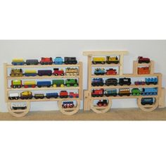 Wooden Wall Storage Train Rack Organizer for Thomas Tank Engine and Brio Tracks. $49.95, via Etsy.