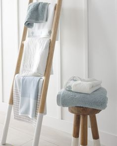 Use our teak ladder and stool to showcase the beautiful patterns and colors of our bath collection. Luxury Duvet Covers, Luxury Bedding, Modern Bedding, Bathroom Towels, Bath Towels, Master Bathroom, Ladder Towel Racks, Baby Bedroom Furniture, Coastal Bathroom Decor