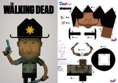 The Walking Dead - Rick Grimes Paper Toy - by Boo! Studios - == -  By Brazilian website Boo! Toys Studios, here is Rick Grimes, the Die Hard Sheriff from The Walking Dead tv series. This model occupies four sheets of paper and is a free paper toy. The priece that you will see in the page is just a sugestion of donation.