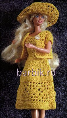 Yellow set for Barbie - crochet