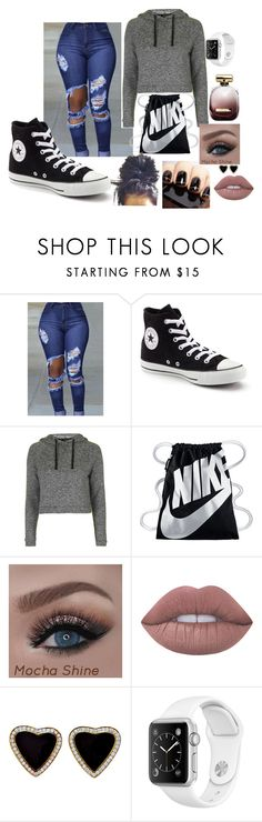 chill by aiyanabaker on Polyvore featuring Topshop, Converse, NIKE, Lime Crime and Nina Ricci