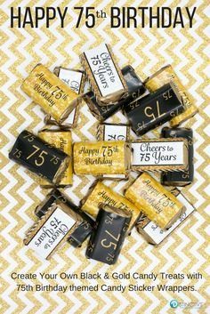 Black And Gold 75th Birthday Party Mini Candy Bar Stickers
