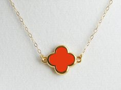 Clover Pendant Necklace - Candy Apple Red
