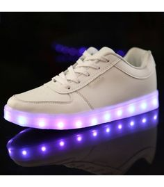 Womens Light Up LED Shoes Low Top Sneakers With USB Charger | White