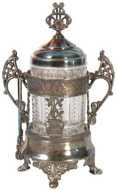 Victorian Silver Plated Pickle Caster With Silver Plated Frame And Open Handles On The Sides, Lid Has A Pierced Finial, Pressed Glass Jar In The Center Antique Metal, Antique Glass, Antique Silver, Vintage Dishes, Vintage Glassware, Condiment Sets, Pickle Jars, Decorated Jars, Antique Auctions